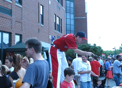 baseball player on stilts